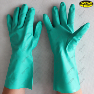Popular Green Nitrile Industrial Safety Work Gloves