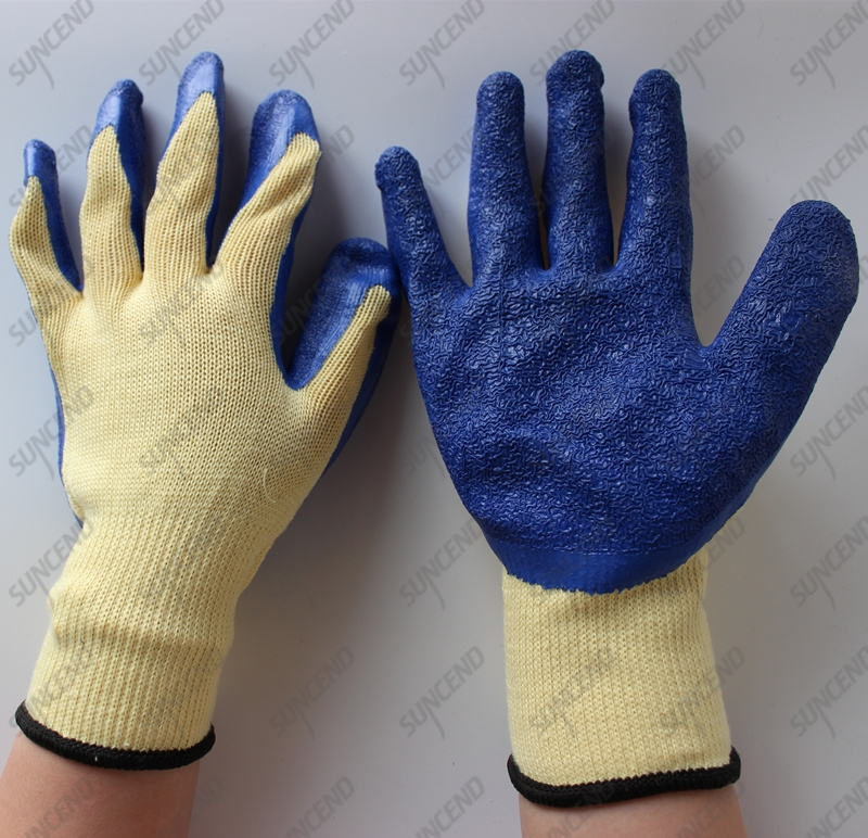 10 gauge polycotton guante de trabajo crinkle dark blue latex gloves