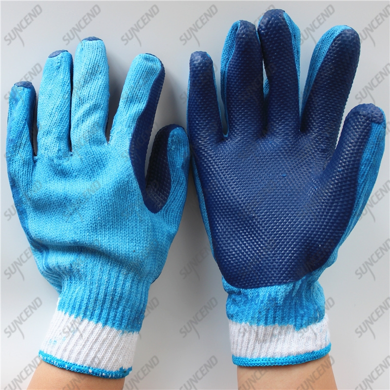 Cheap work 10G polycotton blue laminated rubber gloves for Brazil