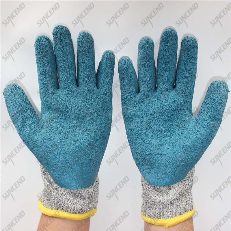 HPPE cut 5 liner palm coating firm grip crinkle latex gloves