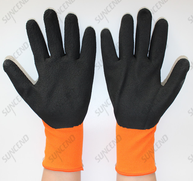 3/4 Palm And Back Coated Sandy Finish Work Glove with Black Nitrile Dipped
