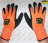 Double nitrile coated sandy finish orange polyester liner safety work gloves
