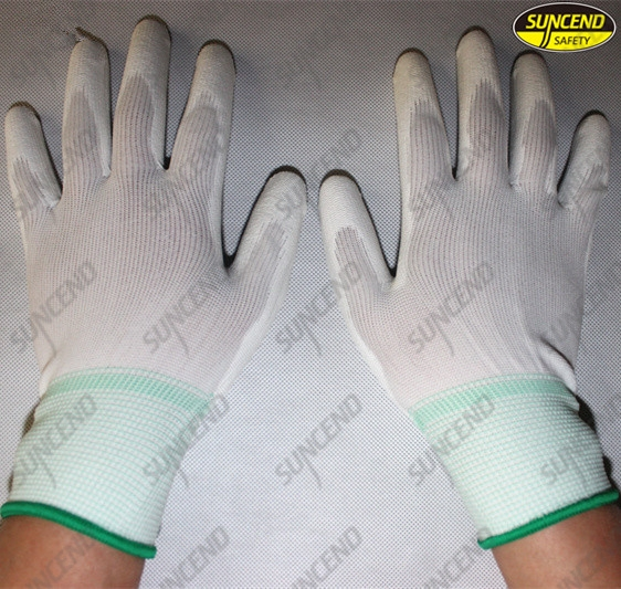 PU coated palm fit polyester liner safety working gloves