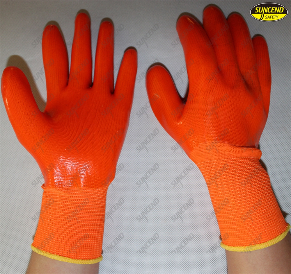 Chemical resistant pvc full coated safety working gloves