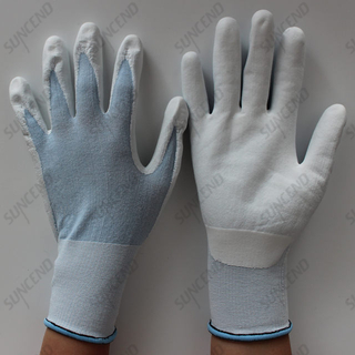 White PPU Palm Coated Nylon+spandex Liner Work Gloves