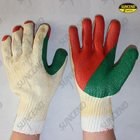 Double color film rubber coated work gloves