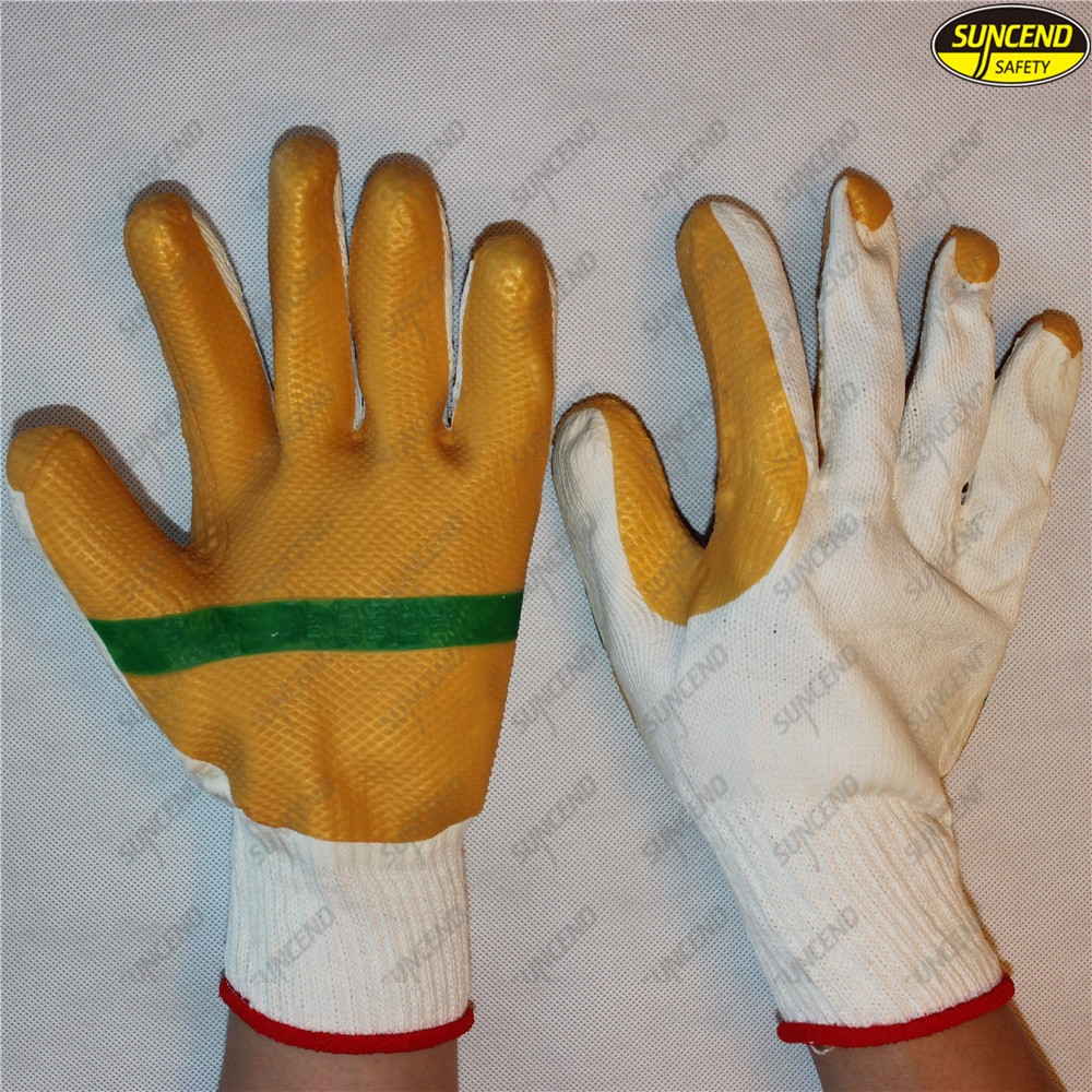 Multi function soft rubber coated 7g polycotton liner safety gloves