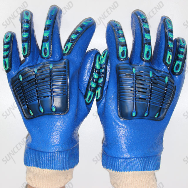 PVC Coated Knit Wrist Rough Finish Work Gloves with TPR Back