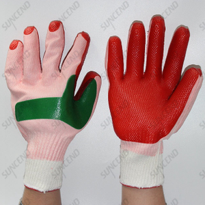 10G Polycotton Liner Palm And Joint Rubber Coated Work Gloves