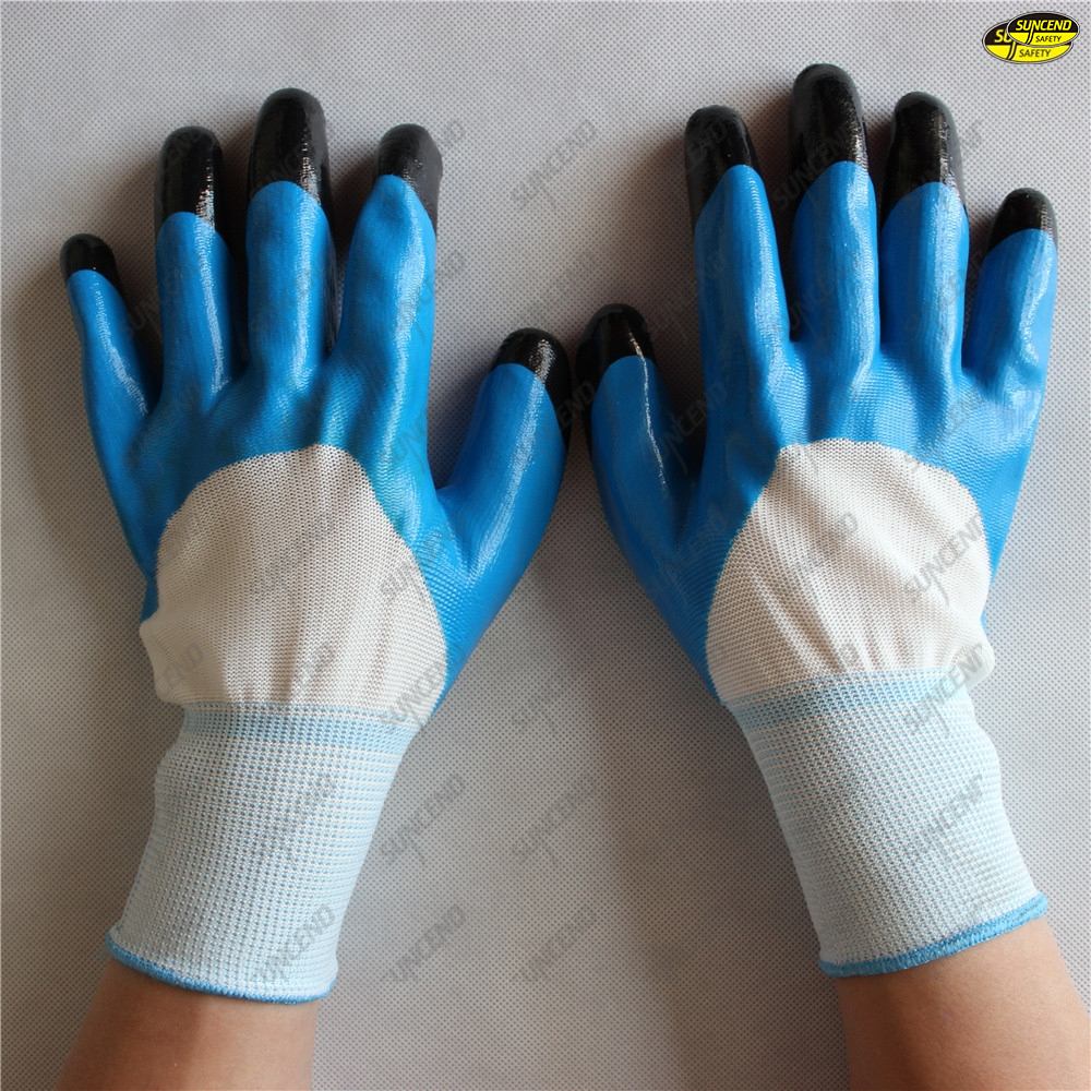 Safety working use smooth nitrile coated hand job gloves