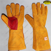 Long welding heat resistant cow leather gloves