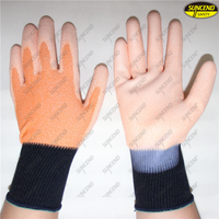 Printing logo polyester liner PU coated testing gloves