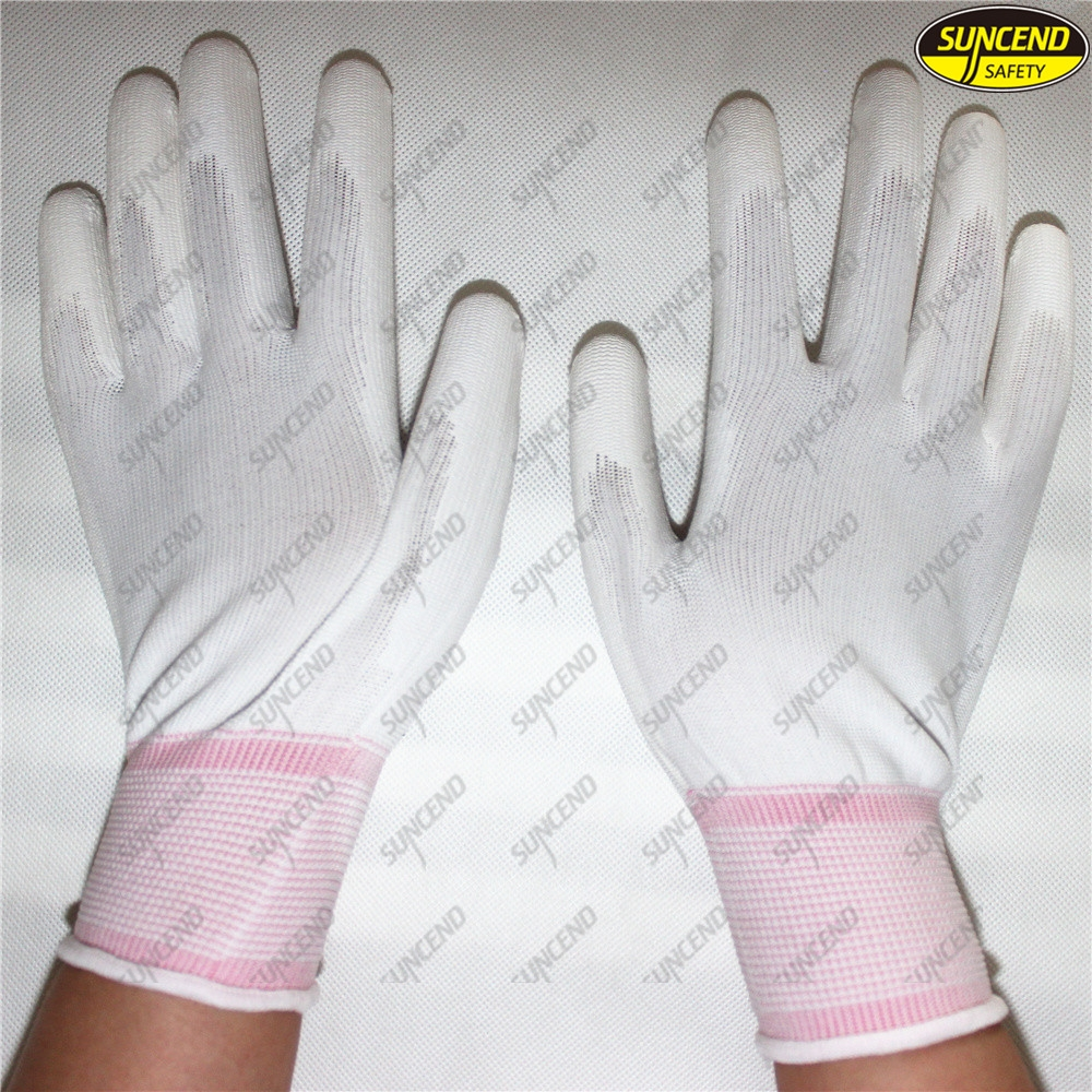 Polyester PU coated working protective glove