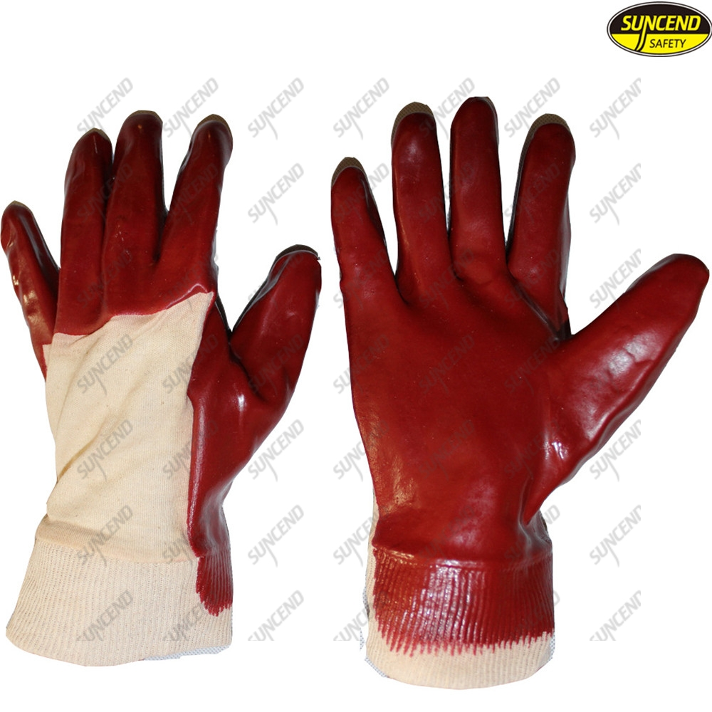 Factory price long red pvc coated safety gloves