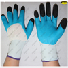 Flexible polyester liner natural latex coated working gloves