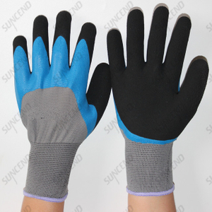 Labor Insurance Gloves Semi-dipped Latex Foam Work Protective Gloves Non-slip Wear-resistant