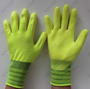 High Visible Latex Palm Coated Glove with Embossed Texture