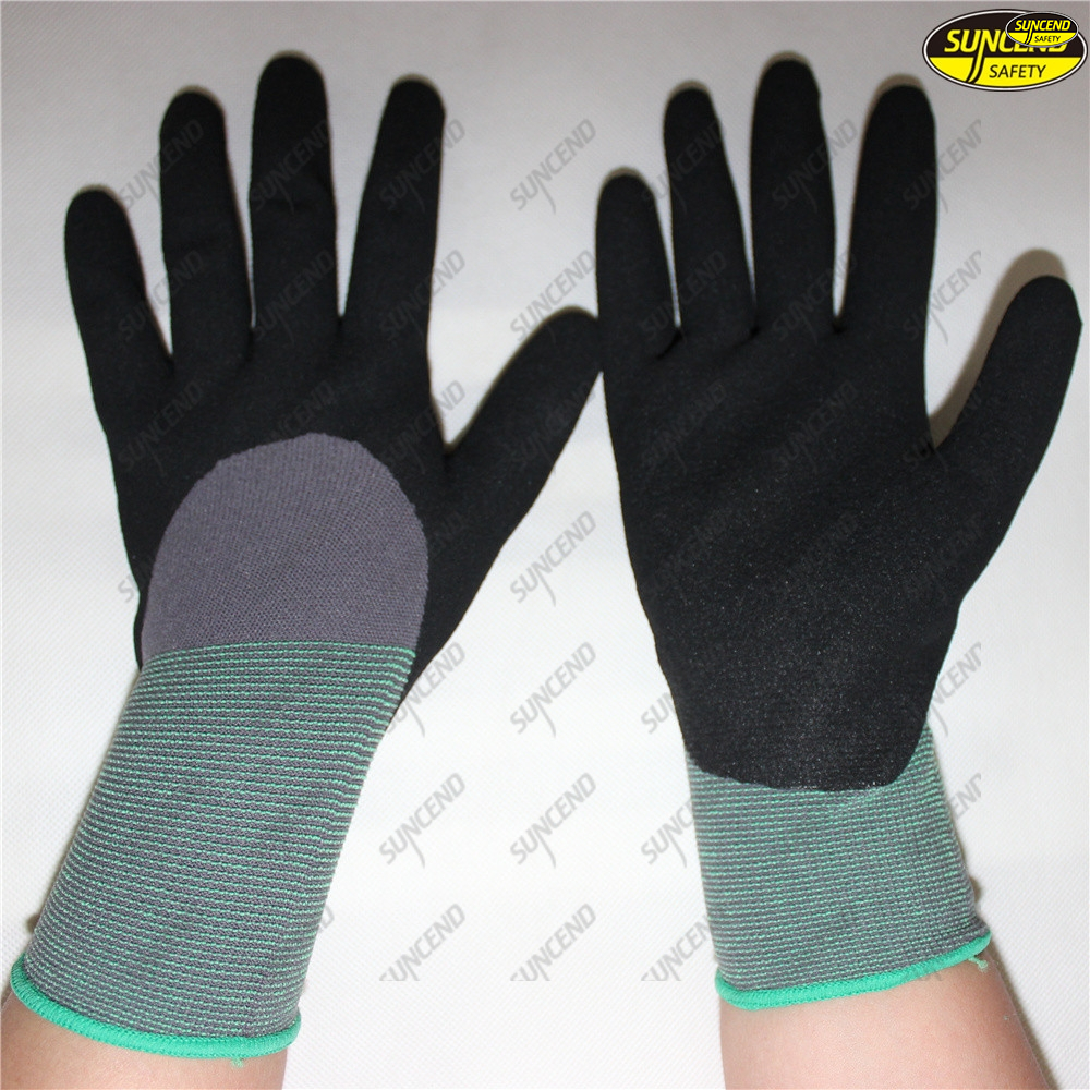 Factory supplier nitrile coated sandy finish safety gloves