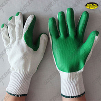 Green Rubber palm coated bleached white liner gloves