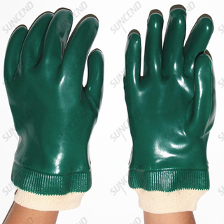 Professional PVC Dipped Smooth Finish Chemical Working Rubber Gloves