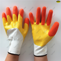 Waterproof oil resistant two color nitrile double coated sandy finish polyester
