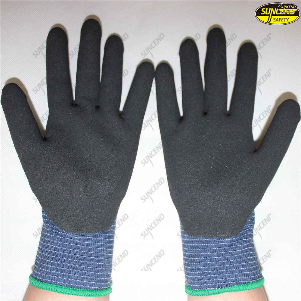 Sandy nitrile palm dipped polyester liner hand gloves