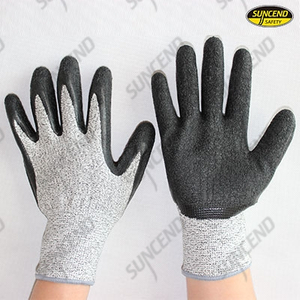 HPPE liner crinkle latex palm coated cut resistant work gloves