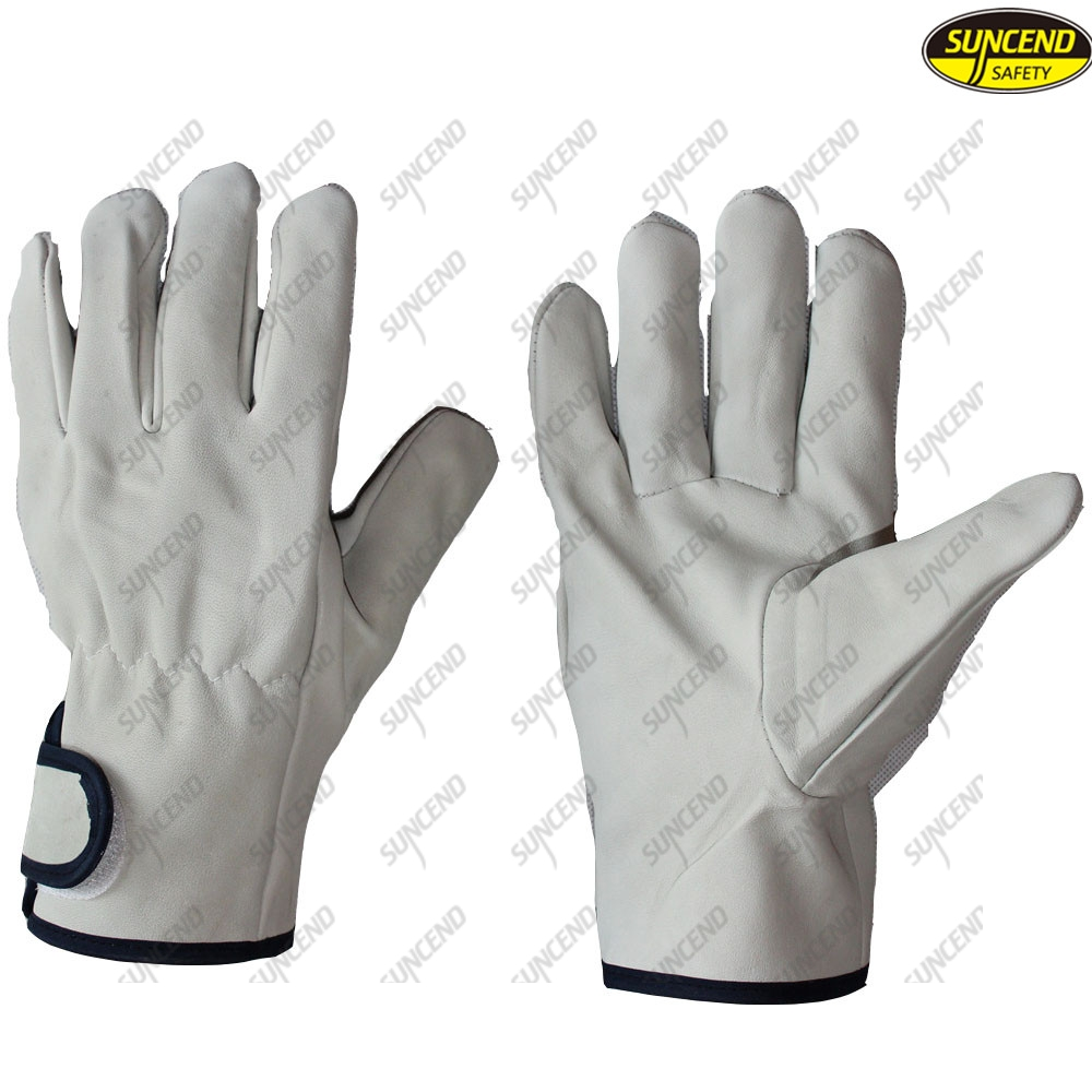 Sheepskin driving goat leather gloves with hasp