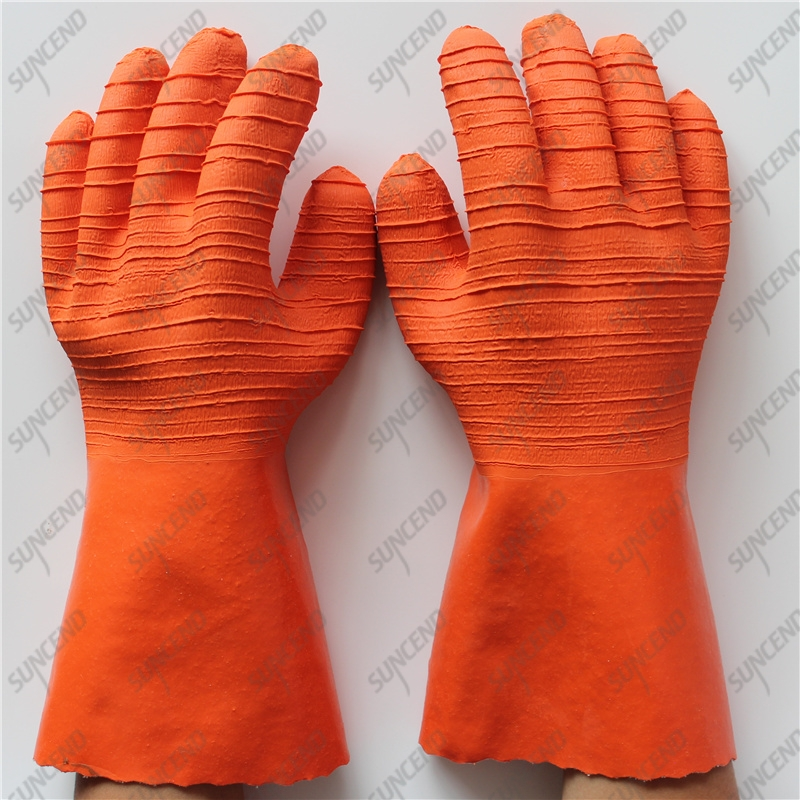 100% cotton liner corrugated gristle big crinkle latex long cuff gloves