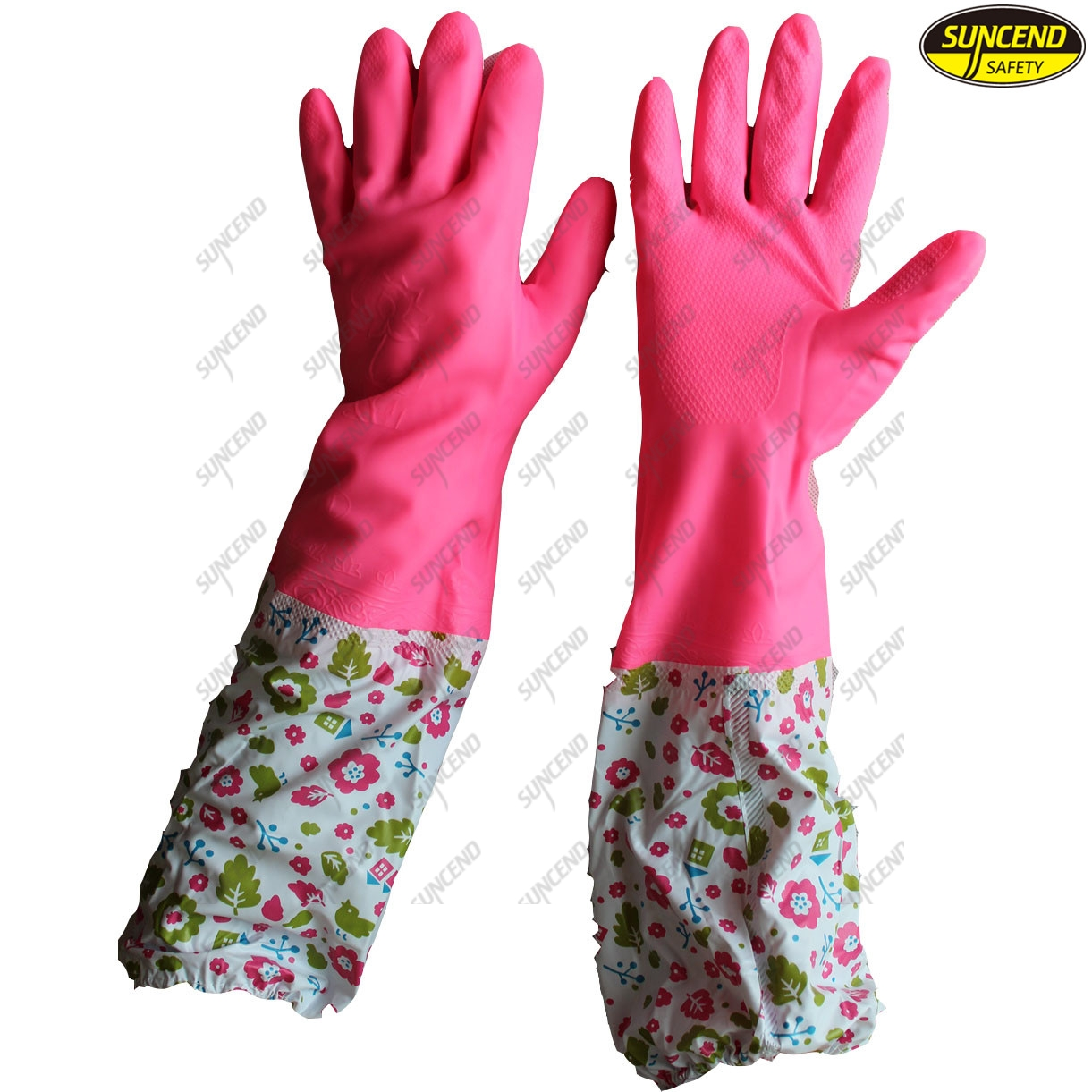 Water resistant latex full coated cleaning household gloves