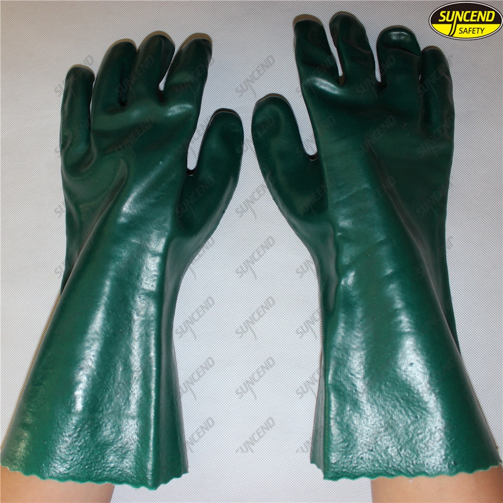 Long safety cuff chemical resistant full pvc dipped work gloves