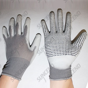 PU palm fit work gloves with PVC dot