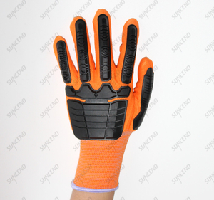13 Gauge Polyester/nylon Seamless Knit Daily Work Gloves with TPR on Back for Anti Impact