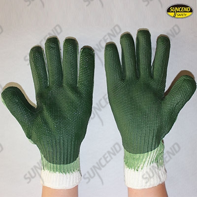 Green laminated rubber palm coated gloves