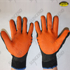 Orange bands back rubber palm coated gloves