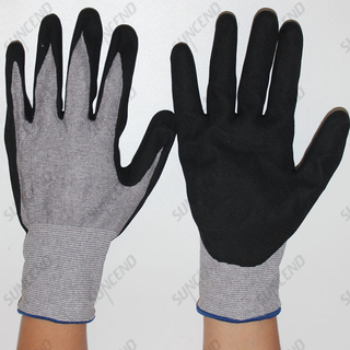 Cut Resistant Sandy Nitrile Coated Mechanical Safety Gloves