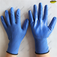 Polyester liner smooth nitrile working gloves