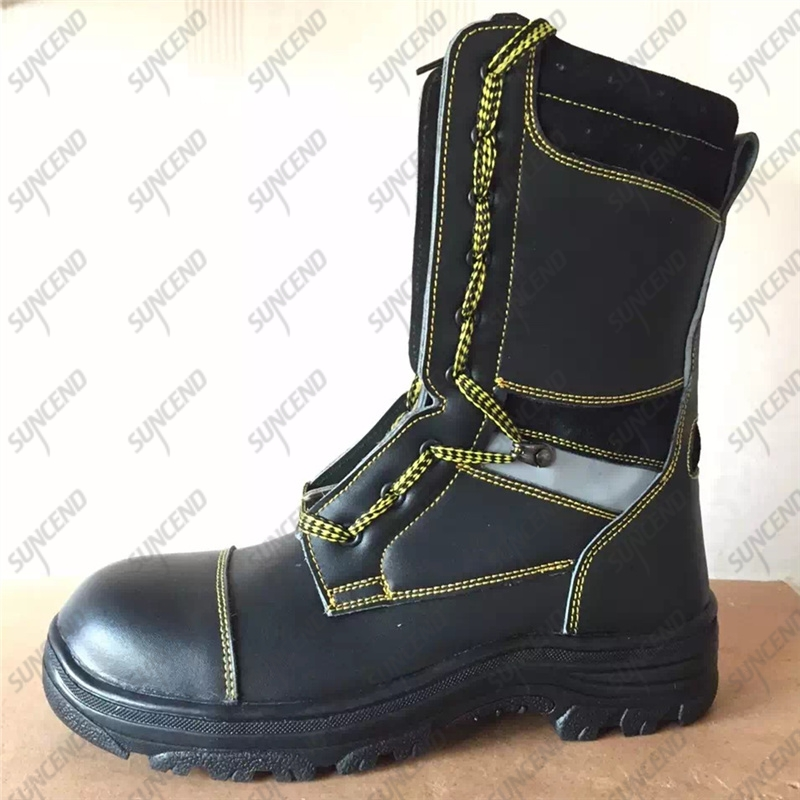 Oil Resistant Anti Static High Cut Steel Toe Black Leather Safety Boots