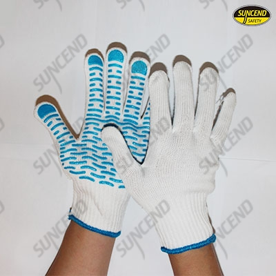 White polycotton knitted liner with pvc dotted on palm work gloves
