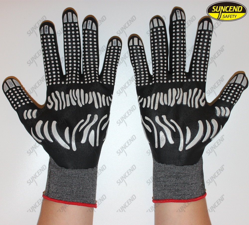 15g nylon spandex palm nitrile coated PVC dotted industrial hand gloves