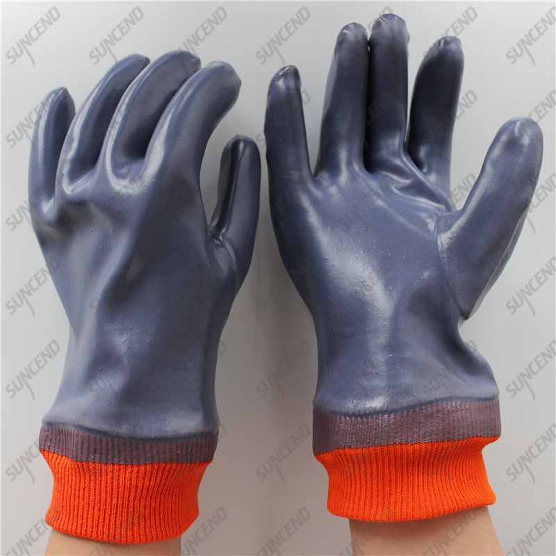 Interlock jersey cotton full coating smooth PVC anti acid alkali gloves
