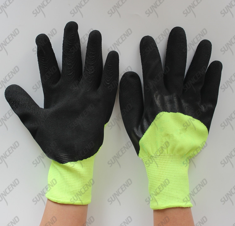 High visible acrylic with terry winter liner 3/4 coated foam latex gloves