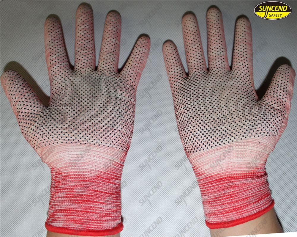 PVC dotted pu palm coated nylon liner protective gloves