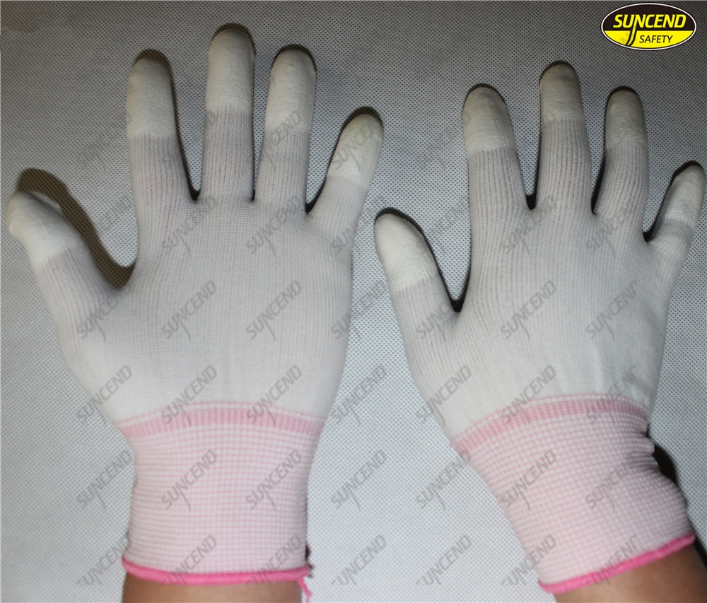Polyester liner PU fingertips coated industrial working gloves