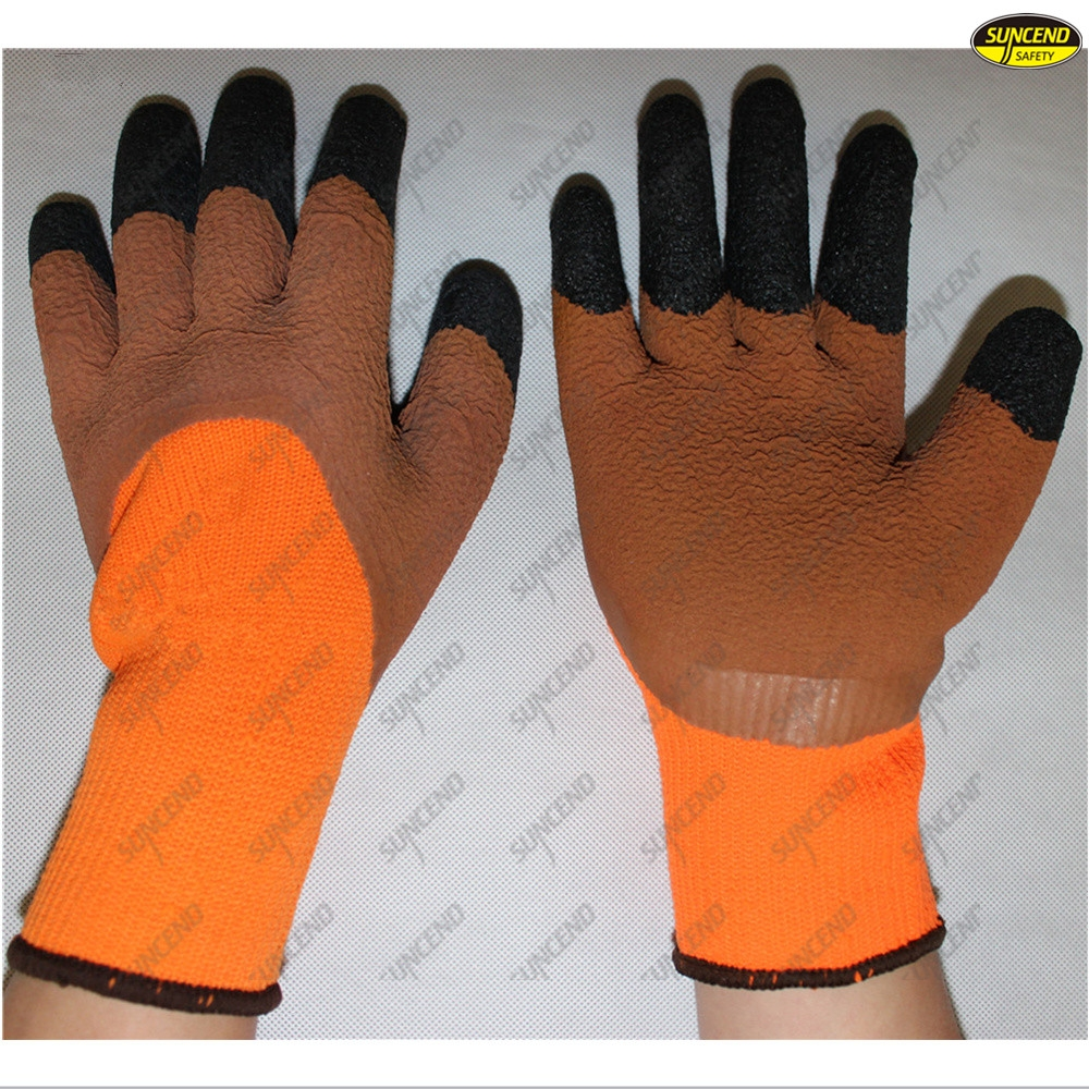 Finger reinforced latex foam coated labour gloves