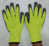 High Visible 10 Gauge Acrylic Terry Liner Gray Latex Palm Coated Work Glove for Winter Working