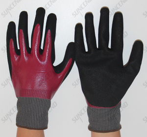 Blue And Red Nitrile Double Dipped Working Glove with Sandy Finish