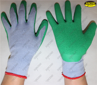 Polycotton liner tear latex coated crinkle finish hand gloves