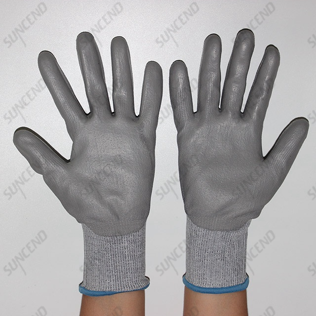 Grey PU Coated Polyester/nylon Liner Gloves