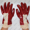 Jersey cotton lining 3/4 coating smooth red PVC anti chemical gloves